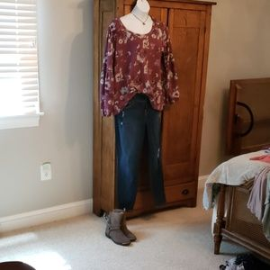 Loralette Burgundy and Grey Floral Top